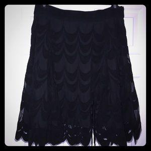 Black scalloped embroidered skirt